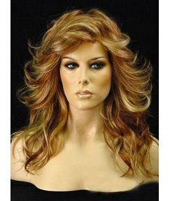 Long Wavy Layered Human Hair 18 Inches Lace Fronts Wigs