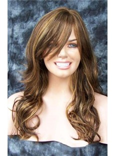 Cheap Long Wavy 22 Inches Chocolate Color Beautiful Wig