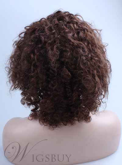 Brown Human Hair Medium Curly Lace Front Wig 12 Inches