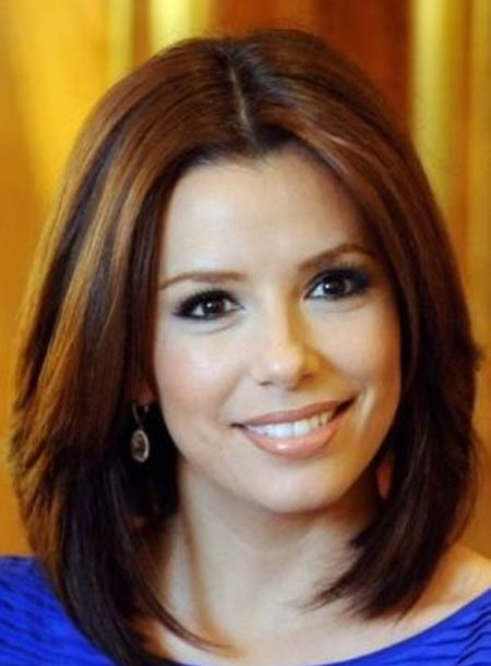 Eva Longoria Elegant Medium Straight Haircut 10Inches Light Auburn Human Hair Full Lace Wig