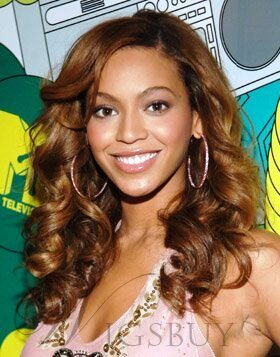 Custom Beyonce Knowles Hair 18 Inches Lace Front Long Curly 100% Human Hair Wig 1821627