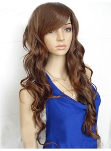 24 Inches Graceful Long Curly Brown Synthetic Hair Wig