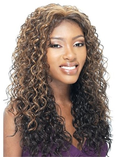 Top Quality Hand Tied Long Curly Brown 22 Inches Lace Hair Wig