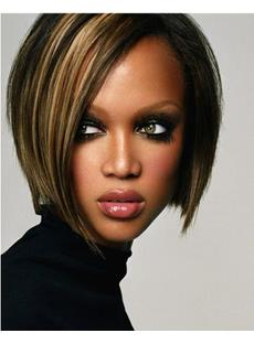 Custom Tyra Banks Hair Style-Lace Front Short Straight 100% Human Hair 10 Inches Wig
