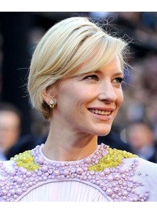 Cate Blanchett Short Straight Human Hair Capless Wigs 8 Inches