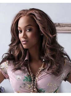 Tyra Banks Custom Hair Style Medium Wavy Brown 18 Inches Lace Front Wig