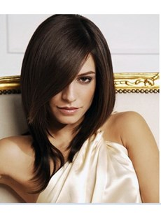 Glamorous Lady Hairstyle Medium Straight 16 Inches Dark Brown Natural Lace Wig