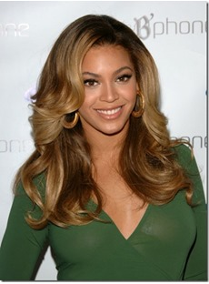 Beyonce Sexy Long Wavy Dark Brown Lace Wig 100% Human Hair 20 Inches