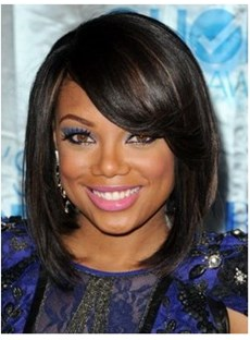 African American Medium Silky Straight 12 Inches Lace Wigs