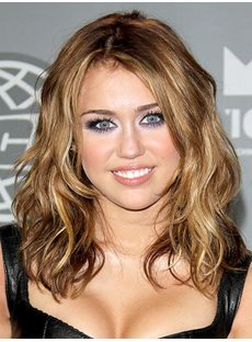 Miley Cyrus Hairstyle Medium Wavy 14 Inches Natural Soft Lace Wigs