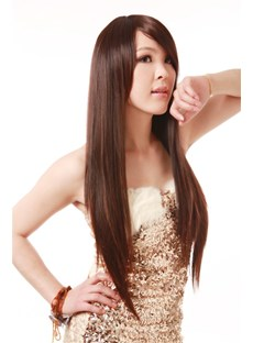 Extra-Long Straight Smooth Brown Synthetic Hair Wig 24 Inches