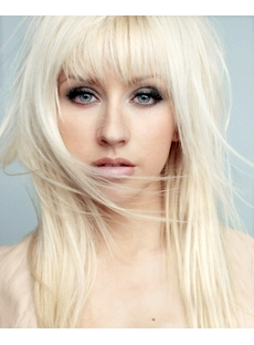 Beautiful Natural Long Straight White Blonde 14 Inches Hair Wig