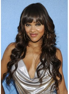 Custom 100% Human Hair Meagan Good Hair Style-Long Wavy Dark Brown 22 Inches Wig