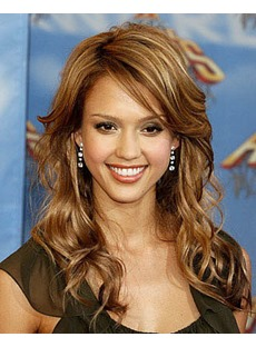 Custom Jessica Alba Hair Style Long Wavy Blonde 18 Inches Lace Front Wig