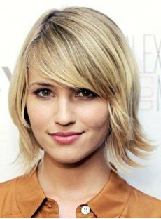 Top Quality Glamorous Short Straight Lace Front Golden Human Hair Wig 10 Inches