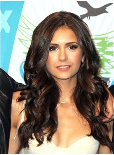 New Arrival Long Wavy Brown Top Quality Natural Lace Front Wig 20 Inches