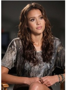 New Jessica Alba's Hairstyle 20 Inches Long Wavy Brown Lace Cap Top Quality Graceful Celebrity Wig