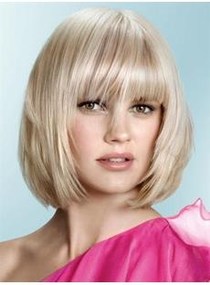 Short Straight Bob Hairstyle Blunt Cut Synthetic Capless Wigs 10 Inches