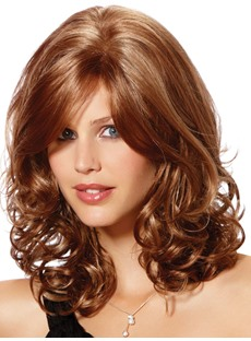 Sexy Medium Curly High Qualtiy Synthetic Hair Wig 16 Inches