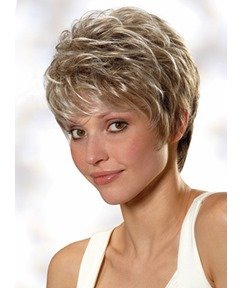 100% Real Human Hair Short Straight Layered Mono Wigs