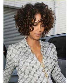 Halle Berry Curly Short Hairstyle 12 Inches Brown 100% Human Remy Hair Hand Knotted Lace Wig
