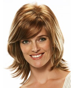 Top Quality 100% Real Human Hair Medium Wavy Brown 10 Inches Light Auburn Wig