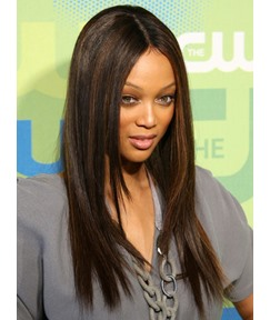 Tyra Banks Fashionable Hairstyle Long Silky Straight 20 Inches Lace Wig
