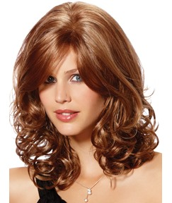 Medium Curly Capless Synthetic Hair Wigs 16 Inches