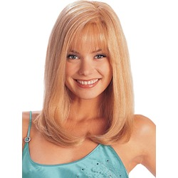 Custom Hand Tied 100% Human Hair Medium Straight Elegant 16 Inches Hair Wig