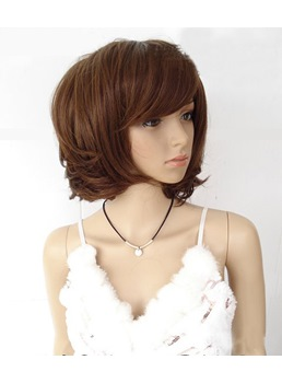 Pure Short Wavy Natural Brown 10 Inches Synthetic Hair Wigs