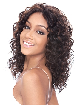 Top Quality Hand Tied Graceful Medium Curly Dark Brown 18 Inches Lace Wig