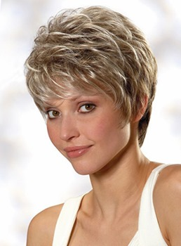 100% Real Human Hair Short Straight Layered Mono Wig