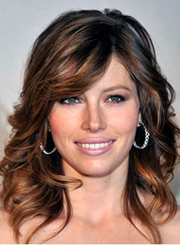 Jessica Biel Medium Lenght Wave Human Hair Lace Front Wigs