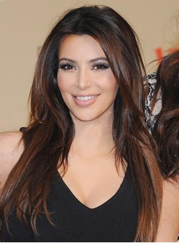 100%Human Hair Kim Kardashian Hair Long Smooth Straight Dark Brown 20 Inches Perfect Full Lace Wig