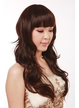 Best Capless Long Wavy Brown Synthetic Hair Wig 22 Inches
