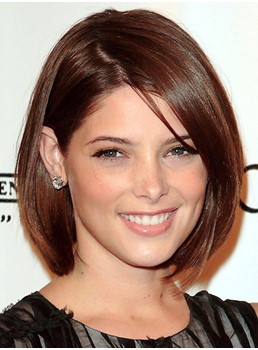 Ashley Greene Style Elegant Medium Straight Brown 10 Inches Lace Wig