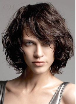 New Messy Short Curly Bob Hairstyle 100% Human Hair Cheap Wig 10 Inches