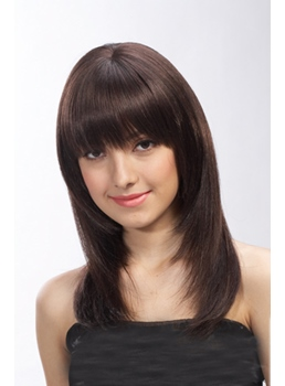 Classical Long Straight Black 16 Inches Synthetic Hair Wigs