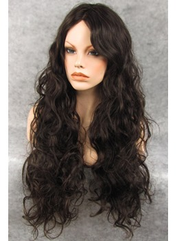 Custom Hand Tied Long Curly Dark Brown 100% Human Hair 22 Inches Lace Front Wig