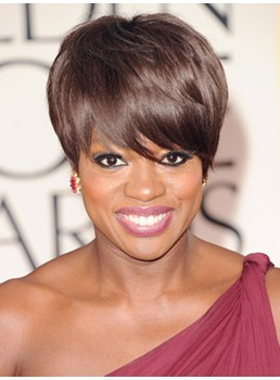 Viola Davis's Popular Hairstyle Short Straight Dark Brown Top Quality Comfortable Wig
