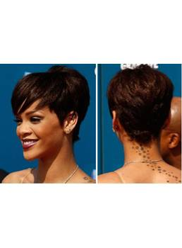Rihanna Short Straight Wigs Synthetic Capless
