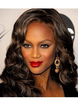 Custom Tyra Bank Hair Style Hand Tied Long Wavy Brown Natural Lace Wig 18 Inches