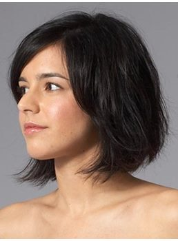 Natural Elegant Custom Medium Wavy Bob Hairstyle Black Lace Wig 10 Inches