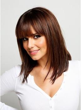 Cheryl Cole Long Straight Human Hair Capless Wigs 14 Inches