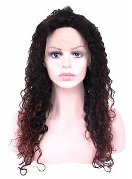 Long Curly Human Hair Hand Tied Lace Cap Women Wig 20 Inches
