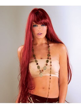 100% Real Human Hair Extra Long Straight Red 26 Inches Wig