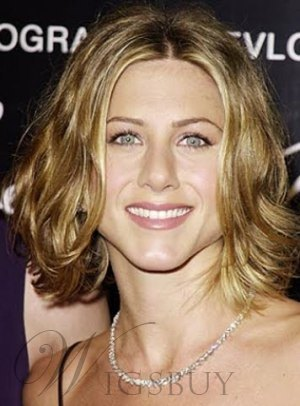 Jennifer Aniston Short Wavy Human Hair Lace Front Wigs 10 Inches