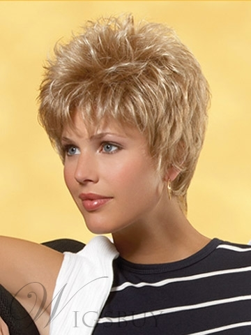 Cheap Cool Smart Short Straight Layerd Blonde Cheap Wig