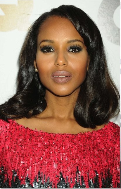 Kerry Washington Hairstyle Medium Straight 12 Inches Black Natural Lace Front Wig
