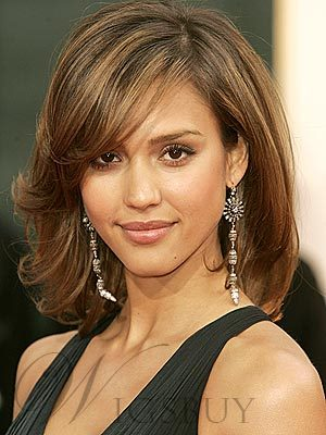 Jessica Alba Medium Curly Lace Front Synthetic Hair Wigs
